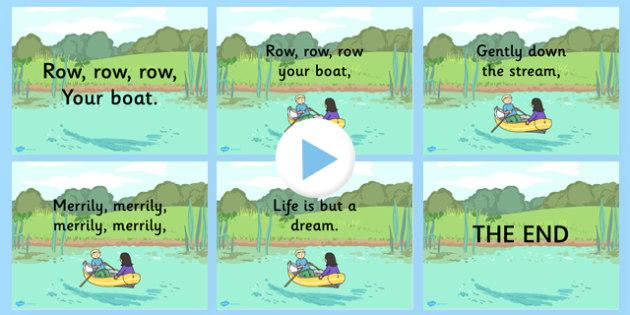 Row Row Row Your Boat Nursery Rhyme PowerPoint - powerpoints