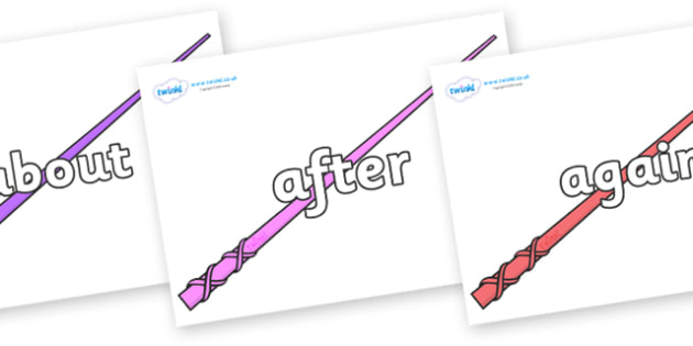 KS1 Keywords on Wands - KS1, CLL, Communication language and literacy, Display, Key words, high frequency words, foundation stage literacy, DfES Letters and Sounds, Letters and Sounds, spelling