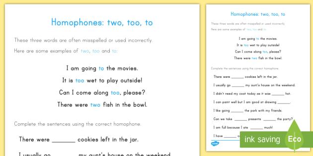 Homophones To Too Two Worksheet / Activity Sheet - homophones