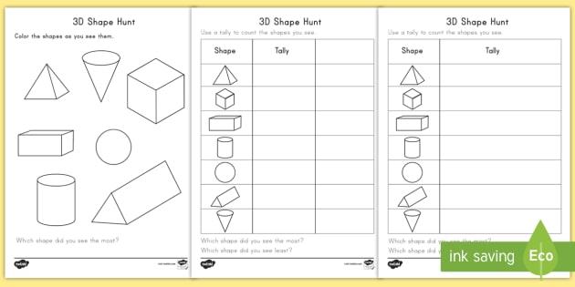 3d shape hunt worksheet worksheets shapes 3d search math geometry. Black Bedroom Furniture Sets. Home Design Ideas