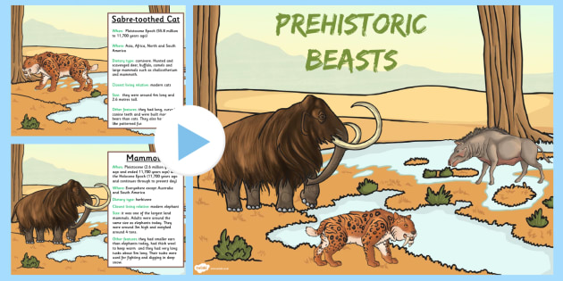 Prehistoric Beasts Information PowerPoint - dinosaurs, prompt