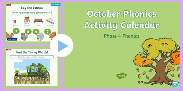 Phase 4 October Phonics Activity Calendar PowerPoint