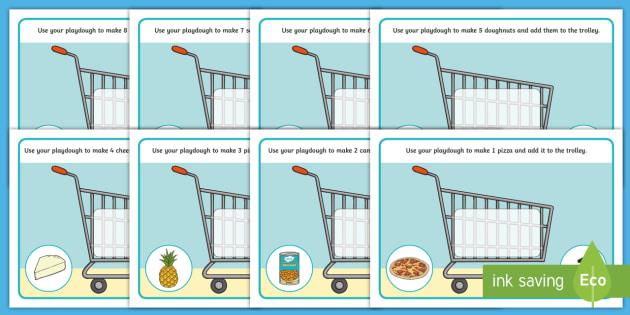 Shopping-Themed Numbers 1-10 Playdough Mats - Shopping, supermarket, maths, numeracy, food, playdoh, play dough