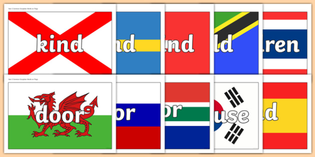 Year 2 Common Exception Words on Flags