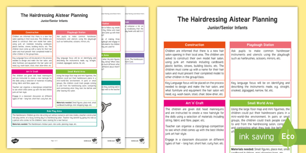 ROI The Hairdressers Aistear Planning Template - Aistear, Infants, English Oral Language, School, The Garda Station, The Hairdressers, The Airport, T