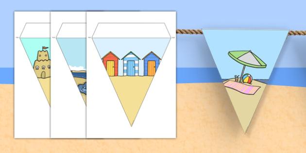 Seaside Display Bunting (No Text) - seaside bunting, seaside display bunting, seaside bunting flags, seaside images bunting, seaside themed bunting