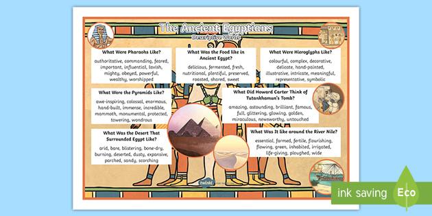Ks2 Ancient Egyptians Descriptive Word Mat Teacher Made