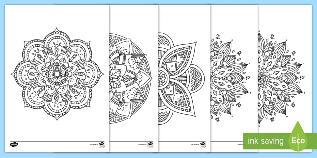 new mandala themed mindfulness colouring pages art