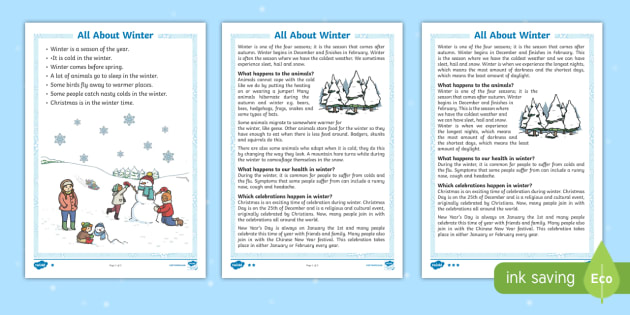 Winter Differentiated Reading Comprehension Activity - winter, reading, comprehension questions, answers, KS1 reading pack