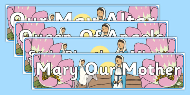 Our May Altar Set of Display Banners - Mary, Our Lady, May, Mary in May, hail mary, religion, may altar, banners, sacred space, display