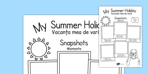 Summer Holiday Snapshots Writing Frame Romanian Translation - summer, hot, fun, holidays, activities, recount, Romanian