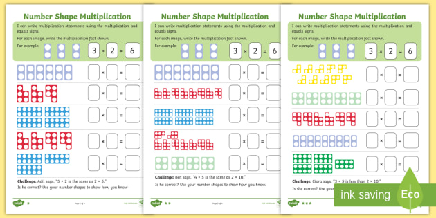 new  ks number shape multiplication differentiated worksheets  new  ks number shape multiplication differentiated worksheets  numicon  arrays multiplication
