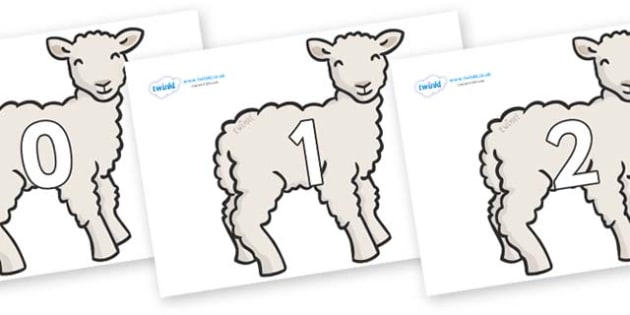 Numbers 0-31 on Lambs - 0-31, foundation stage numeracy, Number recognition, Number flashcards, counting, number frieze, Display numbers, number posters
