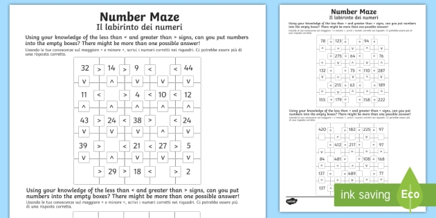 Place Value Number Maze Worksheet / Worksheet Pack English/Italian ...