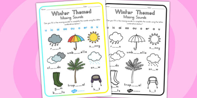Winter Missing Sounds Worksheet - seasons, weather, sounds