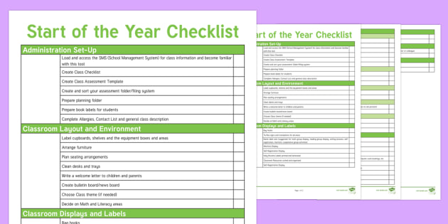NZ Teachers' Start of Year Checklist - New Zealand Back to