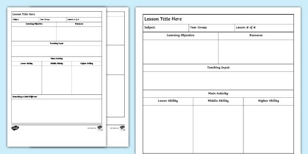 Lesson Plan Template Uk Teaching Reosurces Teacher Made
