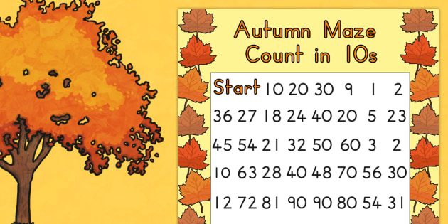 Autumn Counting in 10s Maze Worksheet - seasons, weather, count