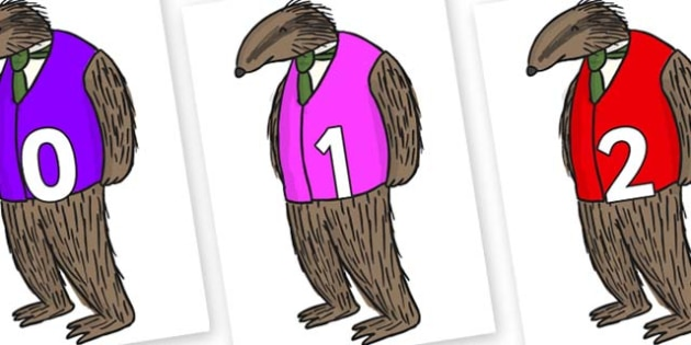 Numbers 0-50 on Badger to Support Teaching on Fantastic Mr Fox - 0-50, foundation stage numeracy, Number recognition, Number flashcards, counting, number frieze, Display numbers, number posters