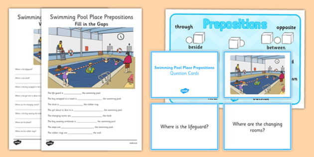 Swimming Pool Place Prepositions Pack - place prepositions, swimming pool