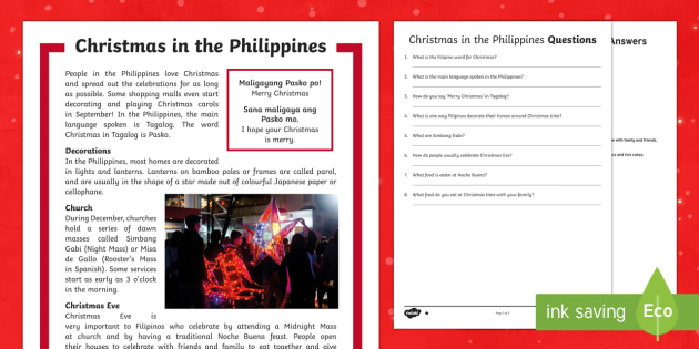 Christmas Around the World: Philippines Differentiated Reading Comprehension Activity-Australia