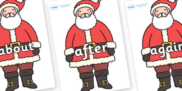 KS1 Keywords on Santa - KS1, CLL, Communication language and literacy, Display, Key words, high frequency words, foundation stage literacy, DfES Letters and Sounds, Letters and Sounds, spelling