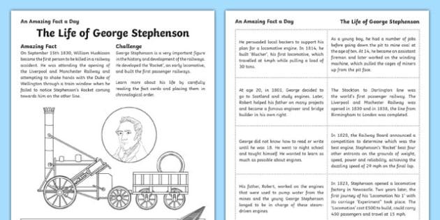 The Life Of George Stephenson Activity Sheet, worksheet