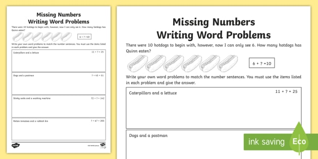 Missing Numbers Word Problems Worksheet / Activity Sheet