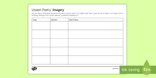 Gcse Unseen Poetry Imagery Worksheet Activity Sheet