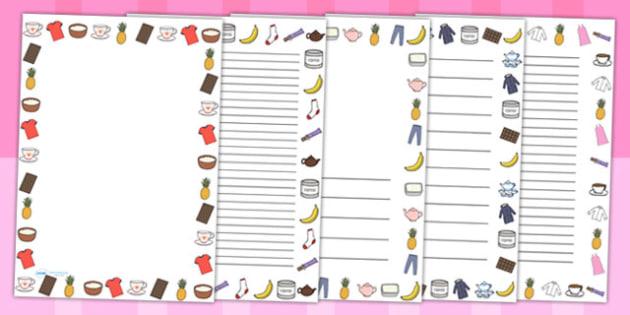 Fairtrade Page Borders - food, fair trade, writing templates