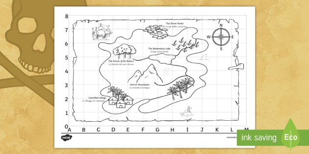 Pirate Treasure Map English/Italian - pirate, pirates, ship, sea, treasure, treasure map, boat, island ,EAL