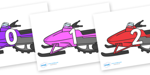 Numbers 0-50 on Snowmobiles - 0-50, foundation stage numeracy, Number recognition, Number flashcards, counting, number frieze, Display numbers, number posters