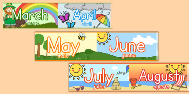 Months of the Year Display Borders Portuguese Translation - portuguese, months, year, display, borders