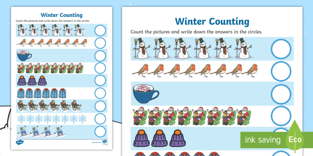 My Counting Worksheet / Activity Sheet (Winter) - education, home learning, free