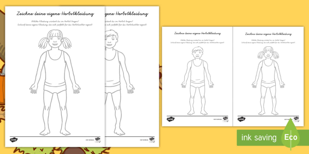 Herbst: Designe dein eigenes Outfit Arbeitsblatt