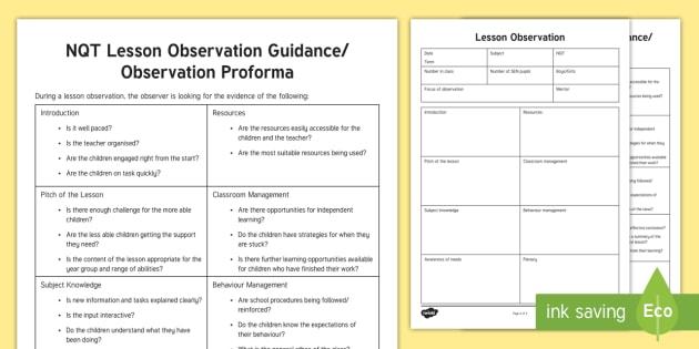 nqt lesson observation guide