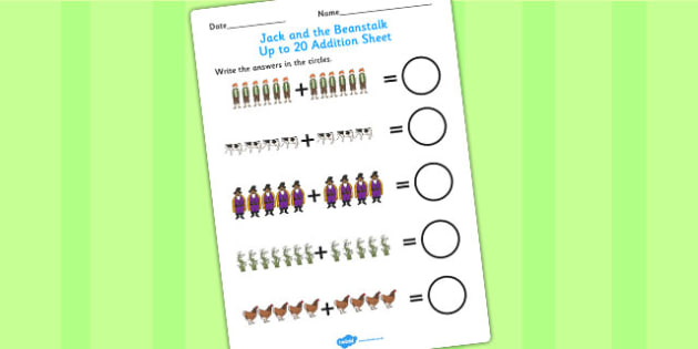 Jack and the Beanstalk Up to 20 Addition Sheet - addition, jack