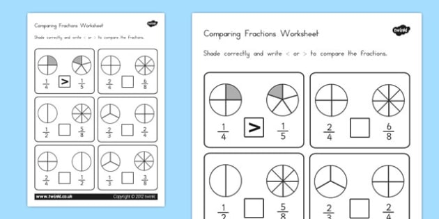 Comparing Fractions Worksheet - australia, comparing fractions
