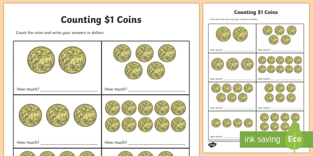 Counting $1 Coins Worksheet / Activity Sheet