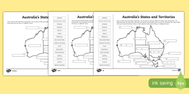 Australia Map States And Cities.Australian States And Territories Differentiated Worksheets