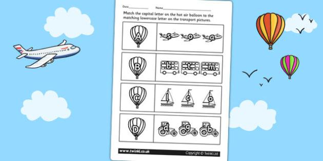 Transport Themed Capital Letter Matching Worksheet - uppercase