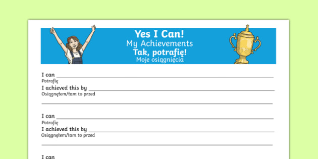 Yes I Can My Achievements KS2 Activity Sheet Polish Translation - polish, Paralympics, Rio 2016, sporting events, pupil achievements, self awareness, self esteem, PSHE, SEAL, All about me, worksheet