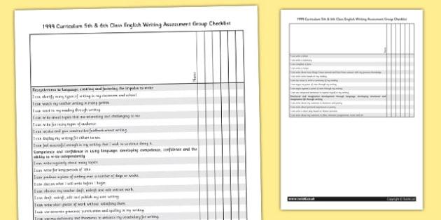 1999 Curriculum 5th and 6th Class English Writing Assessment Group Checklist - english, writing, roi, ireland, irish, eire