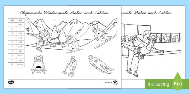 Arbeitsblätter Olympische Winterspiele : Olympische winterspiele malen nach zahlen arbeitsblatt