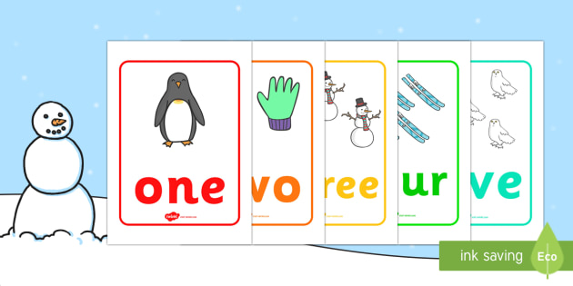 Winter Themed Number Posters with Words (1-20) -  Winter, numeracy, counting, number poster, number words, display banner, polar, arctic, display, winter words, Word card, flashcard, snowflake, snow, winter, frost, cold, ice, hat, gloves, display wor