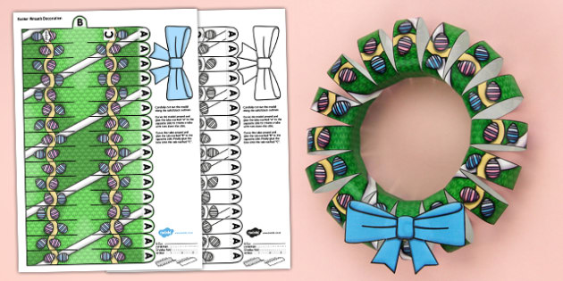 3D Easter Wreath Decoration Display Printable - 3d, easter wreath, easter, wreath, printable, paper model, paper craft, paper, model, craft, decoration