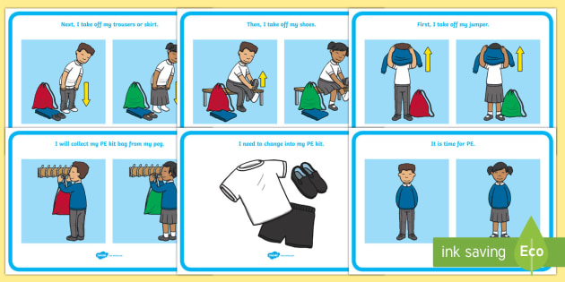 Changing Clothes for PE Social Situation Posters - social stories, EYFS, Early Years, PE, Physical Education, SEN, getting dressed