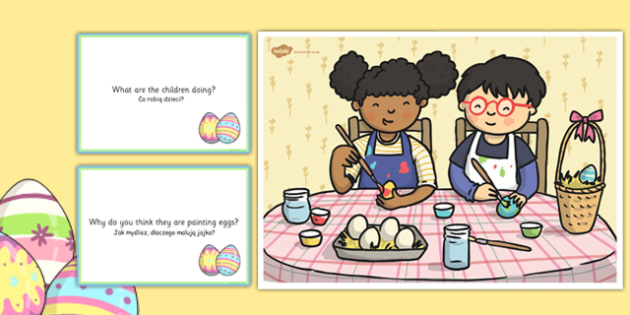 Egg Painting Scene and Question Cards Polish Translation - polish, egg painting, Easter, questions, comprehension pack