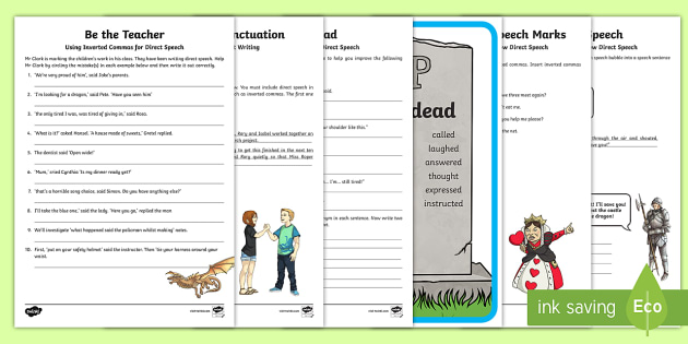 Inverted Commas Speech Punctuation Worksheet Activity Sheets