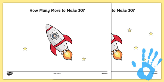 Space Fingerprints - How Many More to Make 10? Activity Sheet Pack - maths, addition, painting activities, worksheet